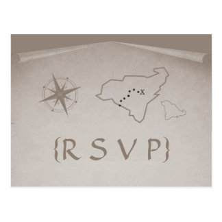 Treasure Map RSVP Postcard, Beige Postcard