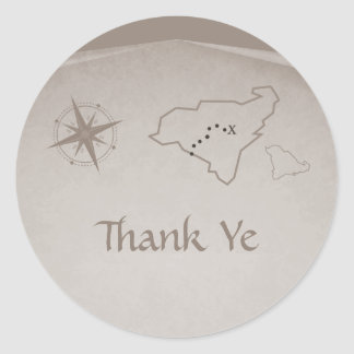 Treasure Map Thank You Stickers, Beige Classic Round Sticker