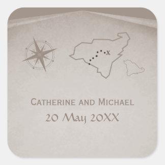 Treasure Map Wedding Stickers, Beige Square Sticker