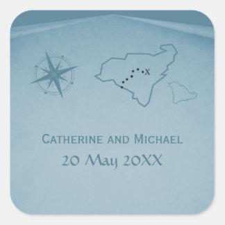 Treasure Map Wedding Stickers, Blue Square Sticker