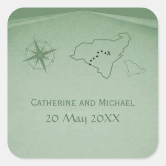 Treasure Map Wedding Stickers, Green Square Sticker