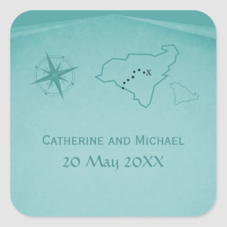 Treasure Map Wedding Stickers, Teal Square Sticker