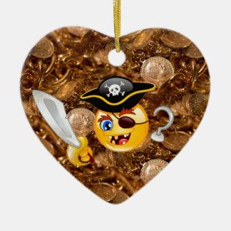 treasure pirate emoji ceramic ornament