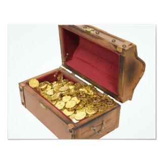"""TreasureChestGold100309 Invitación 4.25"""" X 5.5"""""""