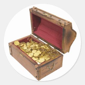 TreasureChestGold100309 Pegatina Redonda