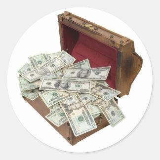 TreasureChestMoney100309 Pegatina Redonda