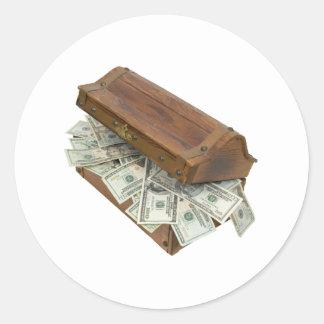 TreasureChestMoneyOpening100309 Pegatina Redonda