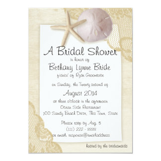 Treasured Beach and Antique Lace Bridal Showerd Card