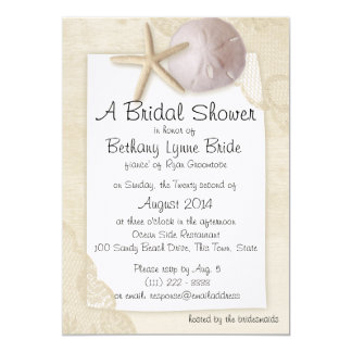 Treasured Beach and Ivory Lace Bridal Shower Card