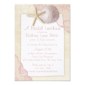 Treasured Beach and Lace Bridal Shower Card