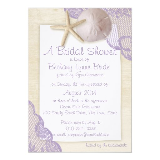 Treasured Beach And Lace Bridal Shower Custom Invites