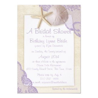 Treasured Beach and Lace Bridal Shower 5x7 Paper Invitation Card