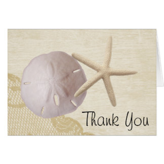 Treasured Beach and Lace Thank You Card