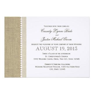 Treasured Hearts and Burlap Wedding Invitation