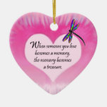 Treasured Memories Dragonfly Double-Sided Heart Ceramic Christmas Ornament