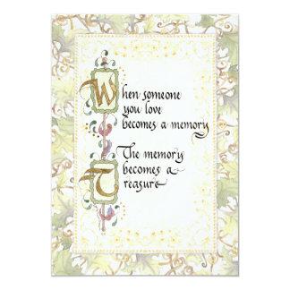Treasured Memory Calligraphy Sympathy Tribute Card