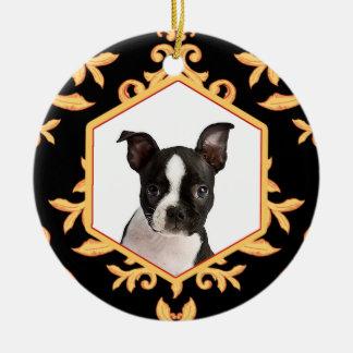 Treasured Pets Black & Gold Damask Dog / Cat Photo Double-Sided Ceramic Round Christmas Ornament