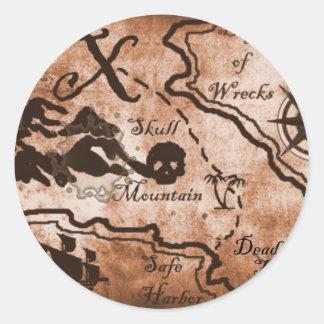 treasuremapfull.jpg classic round sticker