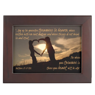 Treasures in Heaven Matthew 6:19-21 Bible Verse Keepsake Box
