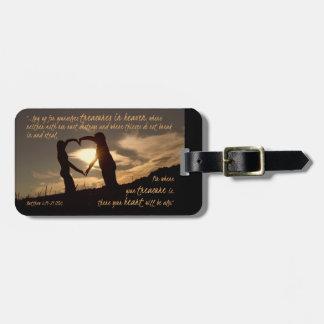 Treasures in Heaven Matthew 6:19-21 Bible Verse Luggage Tag