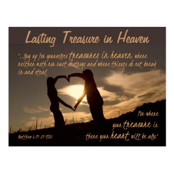 Treasures in Heaven Matthew 6:19-21 Bible Verse Postcards
