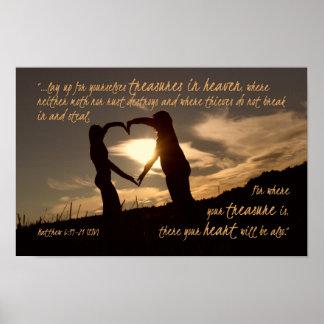 Treasures in Heaven Matthew 6:19-21 Bible Verse Poster