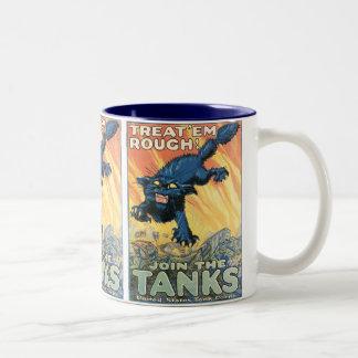 Treat 'Em Rough - Join the Tanks! Two-Tone Coffee Mug