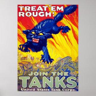 Treat 'Em Rough! ~ Vintage World War 1. Print