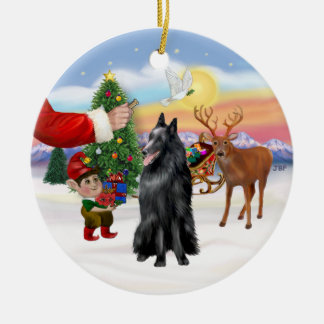 Treat for a Belgian Shepherd Double-Sided Ceramic Round Christmas Ornament