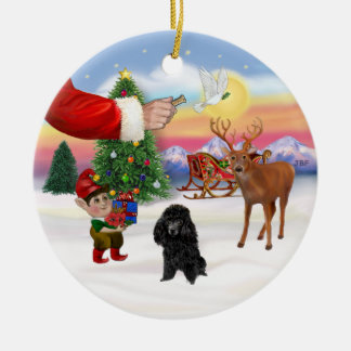 Treat for a Black Poodle (Toy) Ceramic Ornament