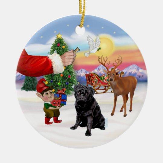 Treat for a Black Pug Ceramic Ornament