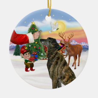 Treat for a Brindle Greyhound Christmas Ornaments