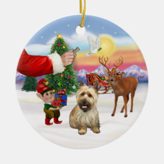 Treat for a Cairn Terrier (black mask) Double-Sided Ceramic Round Christmas Ornament