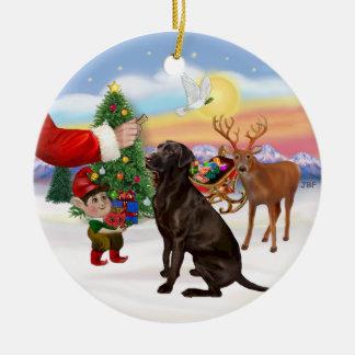 Treat for a Chocolate Labrador Christmas Ornament