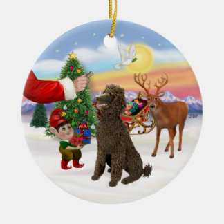 Treat for a Chocolate Standard Poodle Double-Sided Ceramic Round Christmas Ornament