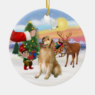 Treat for a Golden Retriever (#5) Double-Sided Ceramic Round Christmas Ornament