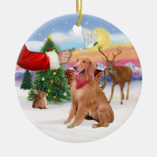 Treat for a Golden Retriever Double-Sided Ceramic Round Christmas Ornament