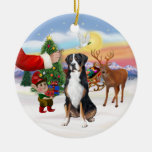Treat for a Greater Swiss Mountain dog Double-Sided Ceramic Round Christmas Ornament