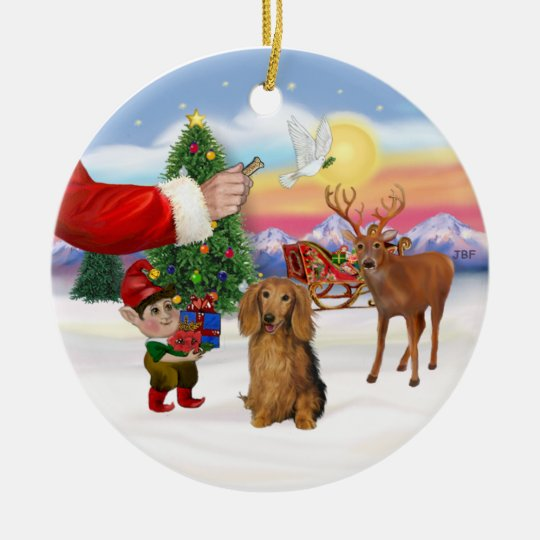 Treat for a Long Haired Dachshund Ceramic Ornament