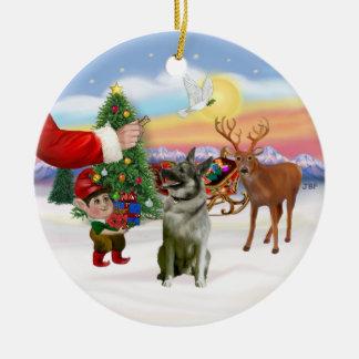 Treat for a Norwegian Elkhound Ceramic Ornament