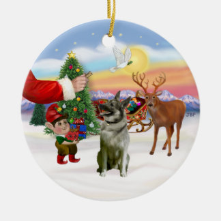 Treat for a Norwegian Elkhound Double-Sided Ceramic Round Christmas Ornament