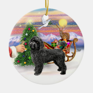 Treat for a Portuguese Water Dog (black, stand) Double-Sided Ceramic Round Christmas Ornament