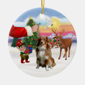 Treat for a Red and White Australian Shepherd Ceramic Ornament