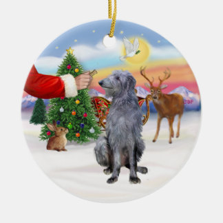 Treat for a Scottish Deerhound Christmas Ornaments