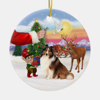 Treat for a Shetland Sheepdog (#7) Double-Sided Ceramic Round Christmas Ornament