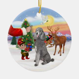 Treat for a Silver Standard Poodle Double-Sided Ceramic Round Christmas Ornament