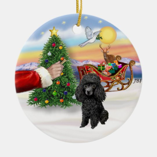 Treat for a Toy or Min. Black Poodle Ceramic Ornament