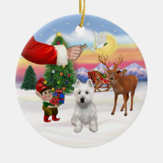 Treat for a West Highland Terrier Ceramic Ornament