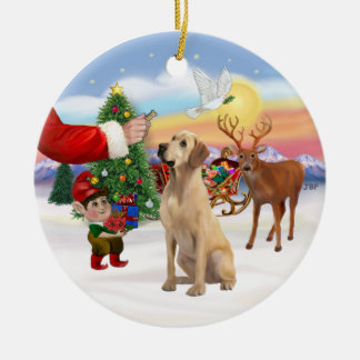 Treat for a Yellow Labrador Ceramic Ornament