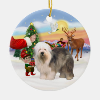 Treat for an Old English Sheepdog Ceramic Ornament